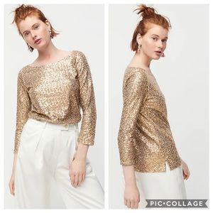 NWT J. Crew Gold Sequined 3/4 Sleeve Boatneck Top